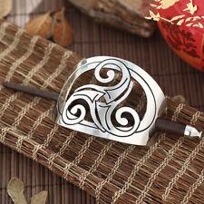 Haarspange Duttspange mit Stab Zopfspange Silber Keltisch - Triple Spiral NEU
