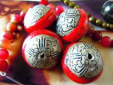 Gr.Tibet-Perle m.breiten Antik Silber-Enden u.rotem Howlith-ca.25x28mm- handmade