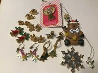 Vintage to Now Christmas Jewelry Lot Brooches Earrings Necklace Rhinestones