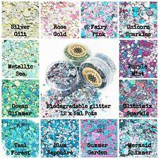 12 x 5ml pots -Biodegradable Cosmetic Bio Glitter mix Festival Party Makeup Eco