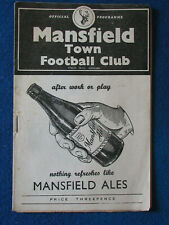 More details for mansfield town v manager's all star xi 24/9/56 friendly programme