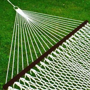 Double Hammock Cotton Rope With Accessories Durable Comfort Relaxing Setup White