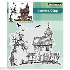 New Penny Black DARK HOUSE Slapstick Cling Rubber Stamp Halloween Spooky Tree
