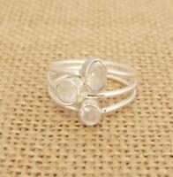 Cut Moonstone 925 Sterling Silver Ring Size O-US 7 1/4