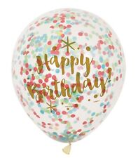 Happy Birthday Confetti Filled Balloons Party Decorations 6 Count 12""