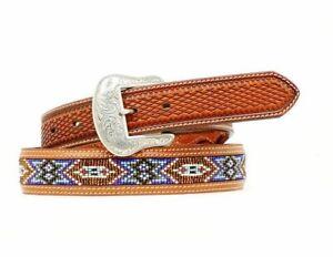 Nocona Western Belt Mens Leather Southwest Beaded Brown Blue N2484408