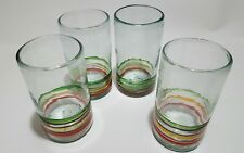 "Mexican Blown 5-1/2"" Tall Drinking Glasses Xmas Colored Bands (Set of 4) r141.3"