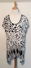 Blue Illusion Top Sz 14 16 Black White Top Jersey Knit BNWT RRP $99 ❤️