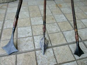 Antique African Mozambique Iron Steel Hunting Three Old Spear Shona Tribe Origin