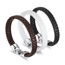 Genuine PU Leather Men's Braided Bracelet Alloy Buckle White/Black/Brown Bangles