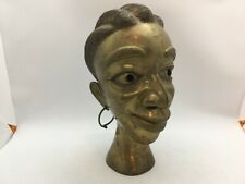 African Kingdom of Bamum Cameroon Cast Bronze Female Head with Moveable Earrings