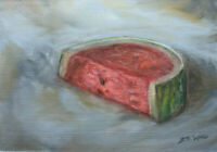 "Watermelon Still Life Oil Painting Fruit and Food 5""x7"" Art by Jeff Ward"