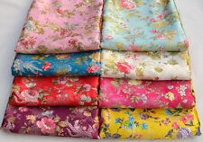 72CM WIDE CHINESE SILK DAMASK JACQUARD BROCADE FABRIC : FANTASY PHOENIX FLOWER