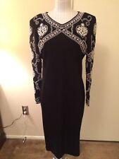 Vtg Adrienne Vittadini Ladies Black Dress w/Pearl Detailing long sleeves Size 12