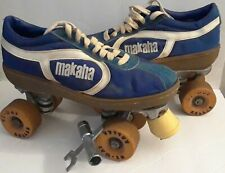 Vtg MAKAHA 70s blue/White Canvas Derby Roller Skates Size 8.5 With tool key