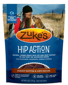 Zuke's Hip Action Peanut Butter & Oats Recipe Dog Treats, 6oz Pouch