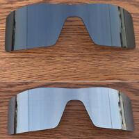 Black Iridium + silver titanium polarized Replacement Lenses for Oakley Oil Rig