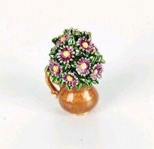 Monet Signed Bouquet of Flowers in Vase Enamel Trinket Box RARE