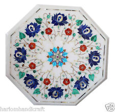 "15""x15"" Marble Coffee Table Top Lapis Gems Inlay Mosaic Work Outdoor Decor H1769"