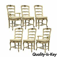 Set of 6 Vintage Shell Carved Country French Rush Seat Ladder Back Dining Chairs