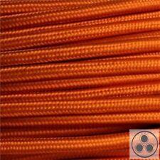 Textilkabel Stoffkabel Lampen-Kabel Stromkabel Elektrokabel  Orange 3 adrig