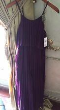 Flowers By Zoe Pleated Maxi Dress Girls Size XL 14-16 Purple w/ Adj. Straps NWT