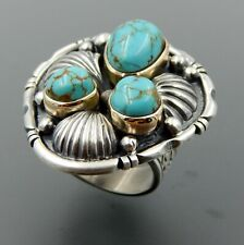 turquoise fluted stamped ring, 9.5 Handcrafted sterling silver 14k gold American