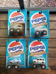 4 New 1990 Road Champs Promotional PEPSI Generation Ford Pick Up Monster Truck