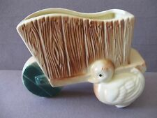 VINTAGE ROYAL COPLEY DUCK and WHEELBARROW PLANTER with org. LABEL