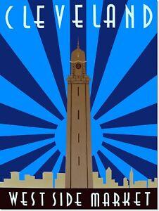 Cleveland Westside Market Vintage Art Deco Poster Reproduction