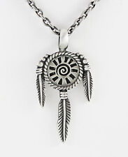 """Antiqued Pewter Mandella with 3 Feathers 45X28 mm Necklace 21"""" Chain Antiqued SP"""