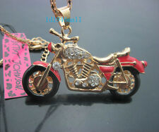 A568R   Betsey Johnson Crystal Enamel Motorcycle Pendant Sweater Chain Necklace