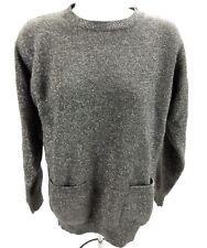 Calvin Klein Womens Small Knit Sweater Silver Grey Metallic Wool LS Pockets  AR