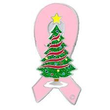 Breast Cancer Awareness Christmas Tree Pin Pink Ribbon Holiday Cap Tac New