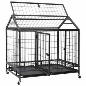 Heavy Duty Dog House Pet Kennel Cage with Wheels Steel Outdoor Pawhut Shelter