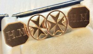 Good Gents Vintage Stamped Lovely 18 Carat Gold Cufflinks. Monogram H.M or W.H