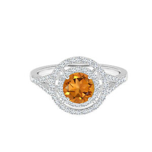 10K or Blanc 0.50 Carats Rond Citrine 5 MM Double Halo Jarret Fendu Bague