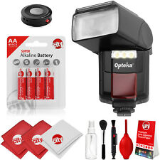 Opteka AF LED Flash w/ IR Remote, Cleaning Kit for Canon Nikon Pentax Sony Fuji