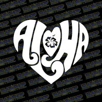 Aloha Heart Hawaiian Vinyl Sticker Decal Design Ocean Hawaii Beach Car Truck