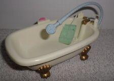 Fisher Price Loving Family Dollhouse White Blue Claw Foot Bath Tub Bathroom