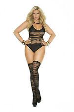 Sexy Negro Transparente De Rayas Sin Puente Body & Medias 16-20 Talla Grande