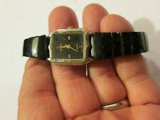 Ladies Watch Band  Solid black stone stretch band
