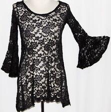 S LOLITA Steam punk Goth Gothic Boho Victorian Emo Vampire Lace Blouse Tunic Top