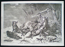 TRAVELLER ATTACKED BY WOLVES WOLF HORSE by RICHARD ANSDELL VICTORIAN PRINT 1854