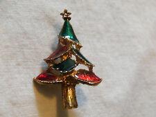 Beautiful Holiday Christmas Brooch Pin Gold Tone Enamel Christmas Tree Cute