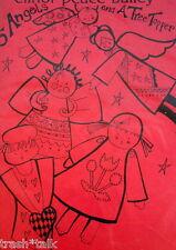 """Elinor Peace Bailey folkart angel doll pattern Christmas rteetopper 80s 15"""""""