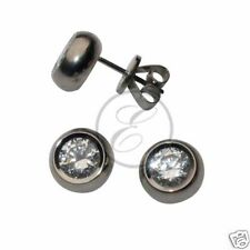 Titanium Stud Earrings Polished Earrings With CZ stone * Allergy Free *