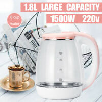 1500W 1.8L Electric Kettle Cordless Water Heater Home Jug 360° Rotating Pink