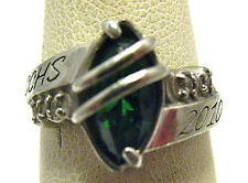 """SILVER """"CCHS"""" HIGH SCHOOL RING SIZE 4.75 GREEN & CLEAR STONES 2010 SYBOLL"""