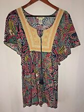 Women's XS Sundress Floral Paisley Boho Peasant Embroidered Tassels